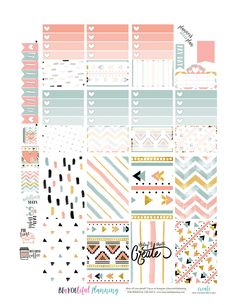 NEW Free Printable!!!! I love this paper set I found at Free Pretty Things for You!! You can get it yourself here. I made Full boxes that will fit the Classic Happy Planner, and The Erin Condren Ve…