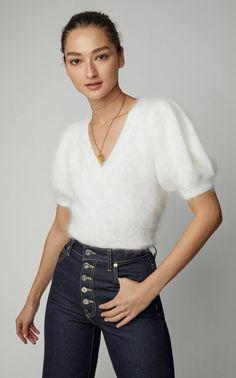 Aries Angora-Blend Sweater by Ulla Johnson Fluffy Sweater, Angora Sweater, White V Necks, Ulla Johnson, Knitwear, Girl Fashion, Women Wear, Vintage Fashion, Sweaters