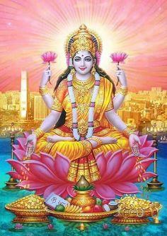 The Lakshmi Gayatri Mantra is one of the most powerful mantra to invoke and beget the blessings of Goddess Lakshmi. Goddess Lakshmi is the Goddess of Wealth. Hindu Vedas, Hindu Deities, Saraswati Goddess, Kali Goddess, Lakshmi Images, Lakshmi Photos, Lord Ganesha Paintings, Gayatri Mantra, Lord Balaji