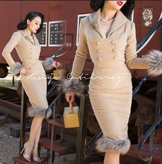 Vintage Skirts : Le Palais Vintage Camel Wool Jacket + Pencil Skirt Suit - Designed by Winny Pin Up Outfits, Classy Outfits, Cute Outfits, Fashion Outfits, Emo Outfits, Fashion Fashion, Fashion Ideas, Mode Rockabilly, Rockabilly Fashion