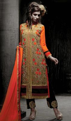 Elegance and fire is the order of the day when choosing this beige and orange georgette embroidered salwar suit. The floral patch, lace and resham work personifies the total look. #ElegantFloralEmbroideredStraightCutDress