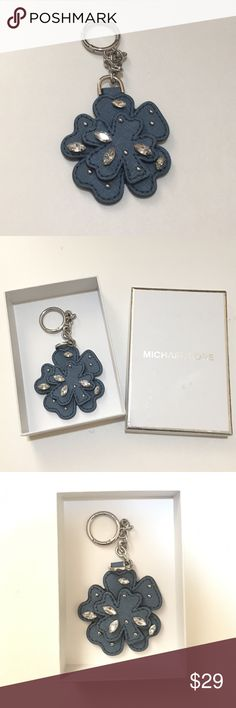 """Michael Kors Leather Flower Key Ring/Bag Charms Style#: 32T7TLXK1L Color: Denim MSRP: $48.00 UPC: 191262198045  Multi-use Key Ring & Bag Charm Leather w/ small metal studs & gem stone accent Total Dimension: 4.5""""(H) x 2.4""""(L)  Flower only size: 2.3"""" x 2.4"""" Michael Kors Accessories Key & Card Holders"""