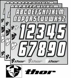 Thor Jersey ID Kit Iron On Letters & Numbers Black/White/Gray 4302-1275
