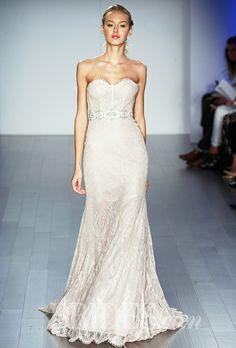 A visible corset @lazarobridal gown | Brides.com
