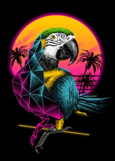 Check out this awesome 'Rad+Parrot' design on Vaporwave Wallpaper, Retro Kunst, Retro Art, Ps Wallpaper, Pop Art, Hawaiian Party Decorations, Animal Posters, Art Design, Star Wars Art