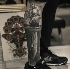Yesssss black and white Moby Dick style tattoo with a ship and a whale