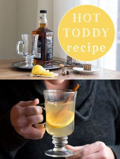 A classic (and necessary) hot toddy recipe. Party Drinks, Cocktail Drinks, Fun Drinks, Yummy Drinks, Alcoholic Drinks, Beverages, Holiday Cocktails, Hot Toddy Recipe For Colds, Cold Remedies