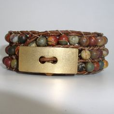 Chan Luu Inspired Beaded Leather Cuff by BeadsLeatherbyCoCo, $55.00