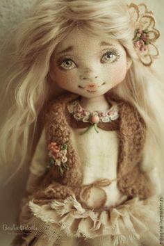 Купить Оленька (резерв) - кремовый, лето, текстильная кукла, коллекционная кукла, оливковый, розовый, птичка
