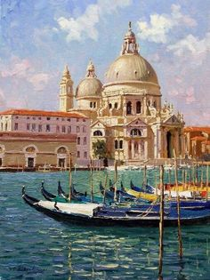 Venice Paintings and Art. 🌺🌻✿❀❁ For more great pins go to Venice Painting, Italy Painting, Boat Painting, Italian Paintings, Classic Paintings, Watercolor Landscape, Landscape Paintings, Italy Landscape, Beautiful Landscapes