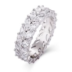 "Our Sterling Silver Marquise Cut CZ Eternity Band is absolutely exquisite! This glamorous ring has beautiful sparkling marquise shaped stones that give this ring an almost leafy, vine look. This fabulous ring has a width of 1/4"" and is approximately 5.5 grams with a total carat weight of 5.4 carats. This eternity ring would be great for a special occasion gift for yourself or that special person."