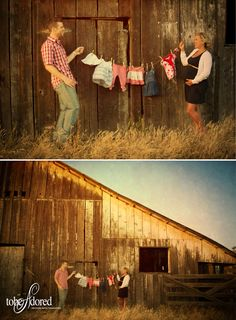 tobeadored photography maternity shoot rustic barn at sunset with baby clothes on a washing line