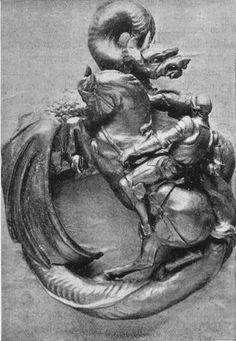 Bronze porte heurtoir en forme de Saint-Georges et le Dragon, Adèle Hay 1899, Bronze