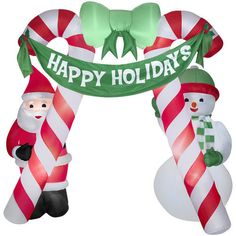 Inflatable Santa Candy Cane Arch 10ft Lighted Christmas Outdoor Decor Last One | eBay