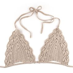 Image of Triangle Crochet Bikini Bra - BeigeWould be pretty under a sheer top in the summerCrochet World added a new photo.You will love this Crochet MocShop stylish women's swimwear at FABKINI & find tankinis, bikinis, one-piece swimsuits, monokinis & mo Crochet Halter Tops, Motif Bikini Crochet, Crochet Bathing Suits, Crochet Bikini Bottoms, Crochet Bra, Crochet Clothes, Mode Du Bikini, Haut Bikini, Crochet World