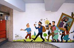 Tintin murals at Brussel's Stockel Metro Station :)