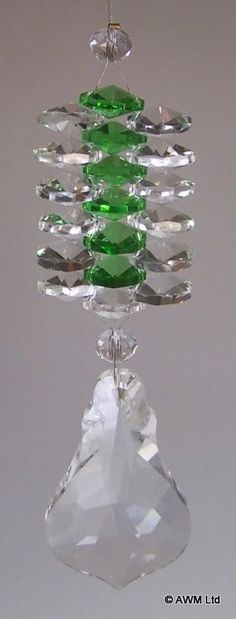 Green and Clear Hanging Crystal Cluster With Leaf Drop Design