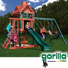 The girls new playset! Can't WAIT for it to get here and get it assembled. I might camp out in that tower!