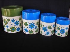Mod Kitchen Canister Set Flower Power by Takahashi SF Japan Blue Green Metal