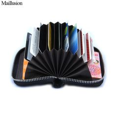 bbb1c17b5df Price tracker and history of Maillusion Genuine Leather Women Card Holder  Wallets Small Female Pillow Purse Fashion Zipper Credit Card Bag Zipper  Card Case