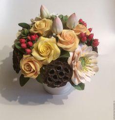 Купить Букет с цветами из полимерной глины Осенний вальс - комбинированный, зеленый, салатовый, желтый, белый