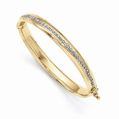 Absolutely Beautiful 14 Karat Yellow Gold & Diamond Fascination Hinged Baby Bangle. by VincentsFineJewelry on Etsy