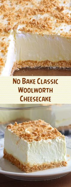 Cheesecake recipes - No Bake Classic Woolworth Cheesecake nobakedessert cheesecakerecipes woolworth No Bake Desserts, Easy Desserts, Dessert Recipes, Summer Desserts, Dessert Oreo, Cupcake Cakes, Cupcakes, Savoury Cake, Cheesecake Recipes