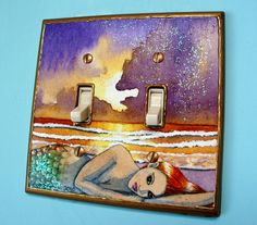 Mermaid Light Switch Plate Cover  Double Handmade unique mermaid gift