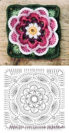 The Ultimate Granny Square Diagrams Collection ⋆ Crochet Kingdom Crochet Bedspread Pattern, Crochet Mandala Pattern, Granny Square Crochet Pattern, Crochet Flower Patterns, Crochet Diagram, Crochet Squares, Crochet Flowers, Granny Squares, Crochet Square Blanket