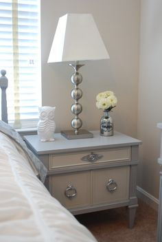 Before and After: Vintage nightstand painted with Annie Sloan Paris Grey and mixture of Paris grey and old white for a lighter grey contrast. Silver hardware