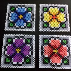 Flower coaster set perler beads by timwonderer