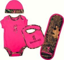 BROWNING BABY HOT PINK & CAMO SET BODYSUIT, HAT, BIB, BURP CLOTH GIFT SET ---- if it is a girl! lol