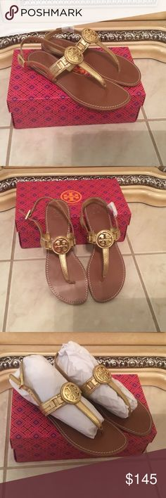 🌈⚡️ Brand New Tory Burch Sandals New Tory Burch sandals, gold with gold hardware. Adjustable back strap. Size 9.5 Tory Burch Shoes Sandals