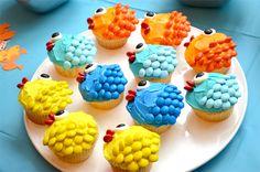 Bubble Guppies party ideas - M&M cupcakes