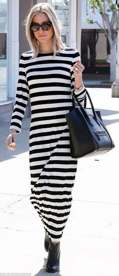 Seeing stripes: Kristin Cavallari, normally known for her chic fashion sense, wore this shapeless, striped number while out in Los Angeles on Thursday