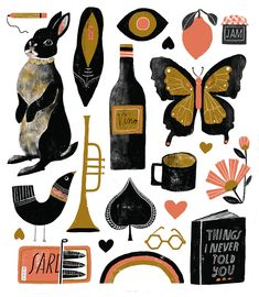 Art print for sale: Seventeen Things in Three Colors by illustrator Lisa Congdon. 11x14 inches, full color, archival, acid-free inks printed on white paper. Signed and dated.