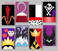 Villain Party Favor Box Set Princess Queen by IraJoJoBowtique Here is a beautiful party favor box set as a digital file. Totally 8 different design boxes. Size : 7 x 4 x 12 cm Disney Canvas Art, Disney Art, Disney Villains Art, Villains Party, Photos Booth, Disney Paintings, Disney Kunst, Disney Memes, Disney Crafts