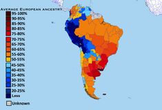 European ancestry in South America by subnational entities.