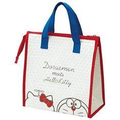 NEW SKATER Doraemon × Kitty Reusable Thermal Cooler Bag Bento Lunch Bag JAPAN £11.21 + £5 pp