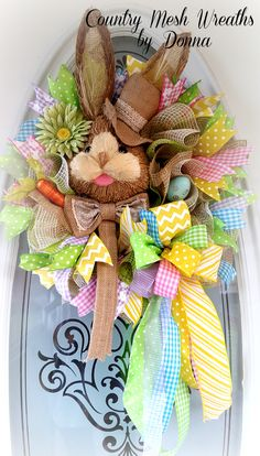 """Mr. Bunny ~Sisal Bunny Head with Top Hat on 10"""" Work Wreath with Fabric Mesh and Various Ribbon!"""