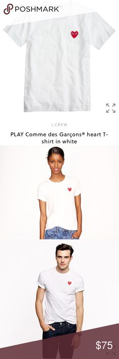 PLAY Comme des Garçons® heart T-shirt in white NWT/ mark on label/ unisex / PRODUCT DETAILS We adore this playful, quirky line dreamed up by Japanese designer Rei Kawakubo (founder of cult label Comme des Garçons). The sporty-chic separates, including this take on a classic French sailor T-shirt, all feature a signature—and completely endearing—seeing heart logo designed by New York-based graphic artist Filip Pagowski.  Cotton. Machine wash. Made in Japan. Item A6258/65057 Comme des Garcons…