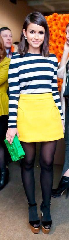 Miroslava Duma >> Color blocking ; black and white striped top, yellow skirt, green bag