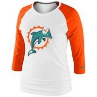 Nike Miami Dolphins Ladies Raglan Three-Quarter Sleeve Tri-Blend T-Shirt
