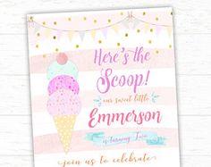 Colores de helado invitación, invitación de fiesta de cumpleaños helado, Pastel, Sprinkles, verano Invitatoin archivo imprimible