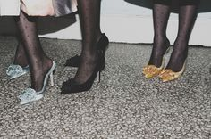 Polka dot tights and satin stilettos backstage at Giles AW15 LFW. See more here: http://www.dazeddigital.com/fashion/article/23776/1/giles-aw15