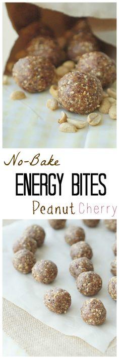 Make my & Gluten Free No-Bake Peanut Cherry Energy Bites! They make the perfect gym bag snack! Healthy Dessert Recipes, Healthy Treats, Baking Recipes, Snack Recipes, Eating Healthy, Diabetic Recipes, Clean Eating, Sin Gluten, Gluten Free
