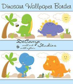 Dinosaur wallpaper border wall art decals for baby boy nursery or children's dino room decor #decampstudios