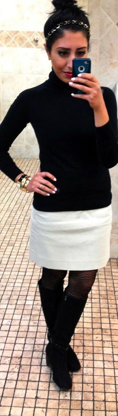 .white skirt, leggings, black turtleneck