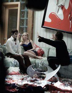 "Tim Burton Johnny Depp and Eva Green on the set of ""Dark Shadows"" (2012)"