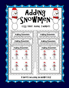 This worksheets has students adding 3 numbers that are placed inside a snowman. Each number in a snowball. There are 4 problems per page with space to show work.   Also includes an answer key and terms of use sheet.